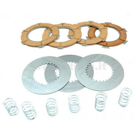 Set clutch dr, 7 discs with 6 springs reinforced vespa px 125/150, gt, gtr, ts, sprint, sprint veloce, super