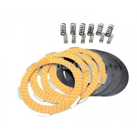 Set clutch newfren, with carbon steel discs, driven plates, and 12 reinforced springs for vespa 50fl/50fl2/hp/125fl