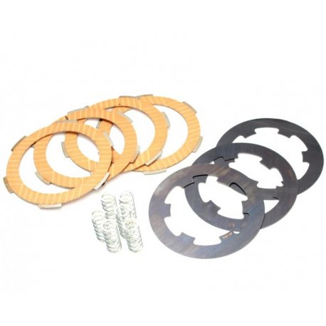 Set clutch plates carbon steel polini vespa smallframe, 4 discs, 6 springs