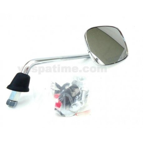 Rh chrome-plated rectangular mirror with bracket for fastening on handlebar