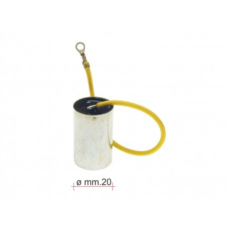 Condenser reinforced with one cable without fastening bracket for Vespa 50 N/L/R, 50 Special - D.20, mf 0,22