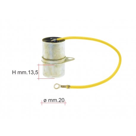 Condenser reinforced with one cable with fastening bracket for Vespa 90/90SS, 125 Nuova/Primavera - D.20, mf 0,32