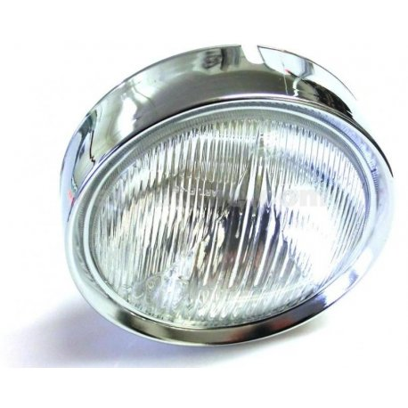 Headlamp with chrome ring vespa 125 gtr, 125 ts, 150 sprint vel., 180/200 rally (with plastic glass)