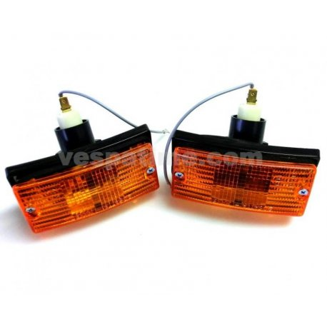 Pair of front headlamps set for indicators vespa px 125/150/200 all series, 125 ets, px125t5, pk50/80/125s automatic