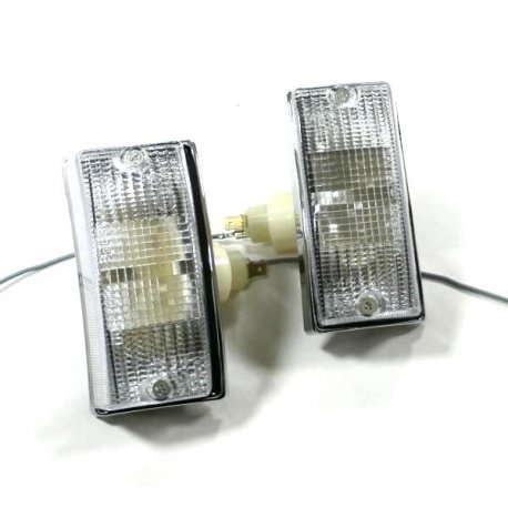 Pair of chrome front headlamps set white for indicators