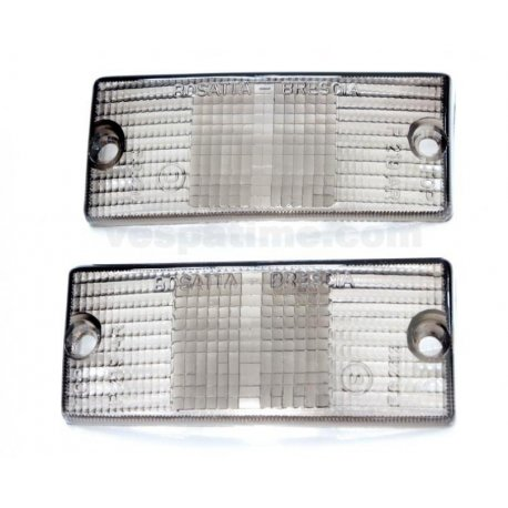 Front lenses smoky grey for indicators for vespa px 125/150/200 all series, 125 ets, px125t5, pk50/80/125s automatic
