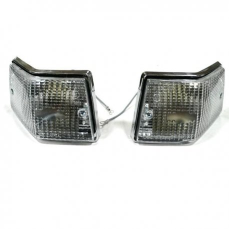 Pair of rear chrome tail lights set white for indicators vespa px 125/150/200 all series, 125 ets, px125t5