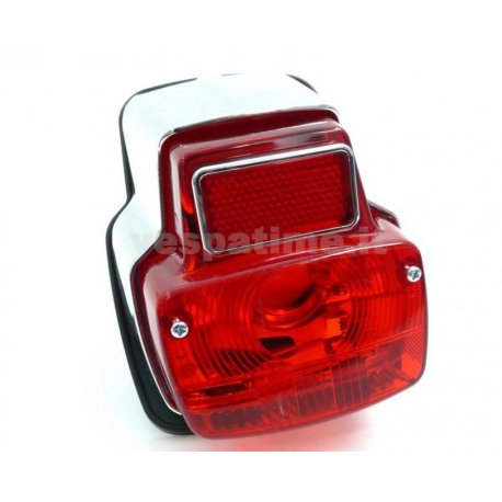 Tail light chrome metal, including gasket, for vespa 50ss,90,90ss, 125 primavera vma1t→2t →0140161