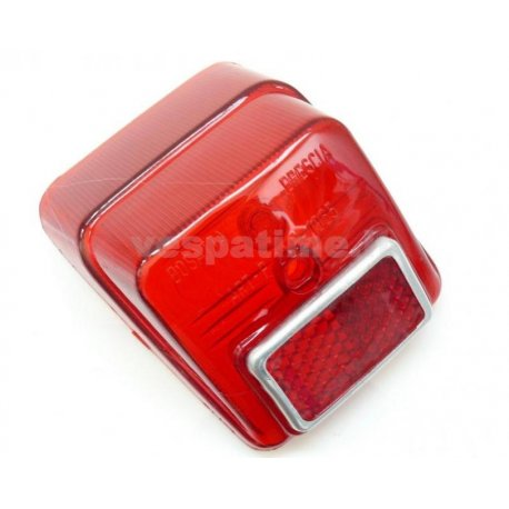 Glass tail light vespa 50 n v5a1t second series of 1965 with aluminium ring