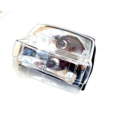 Tail light set for vespa p125x, p150x, p200e, px 125/150/200 e, with clear glass and orange bulbs