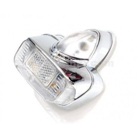 Tail light with gasket, chrome plastic support