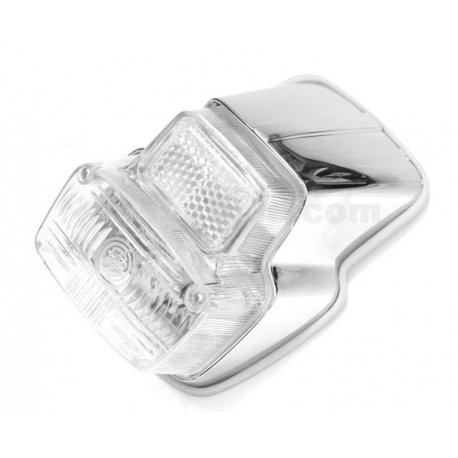 Tail light with gasket, chrome plastic support vespa 50ss,90,90ss, 125 primavera vma1t→2t →0140161