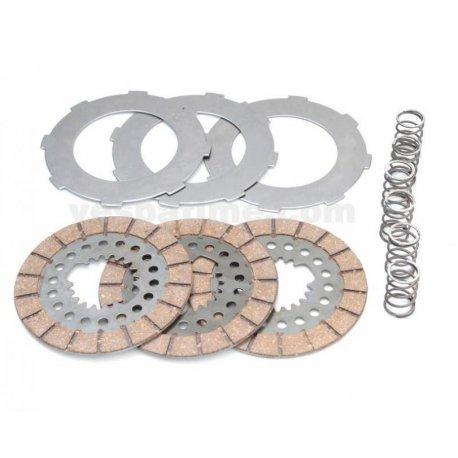 Complete set clutch plates newfren, steel discs, springs vespa gs 150 vs1t