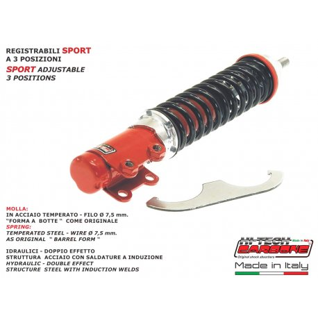 Front shock absorber made in italy by carbone for vespa pk125, pk125 xl, rush reinforced