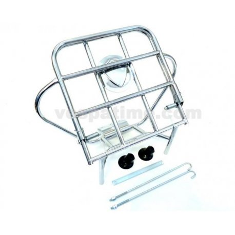 Chrome-plated rear luggage carrier with fastening rods and 10-inch spare wheel holder