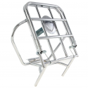 Chrome-plated rear luggage carrier with fastening rods and spare wheel holder