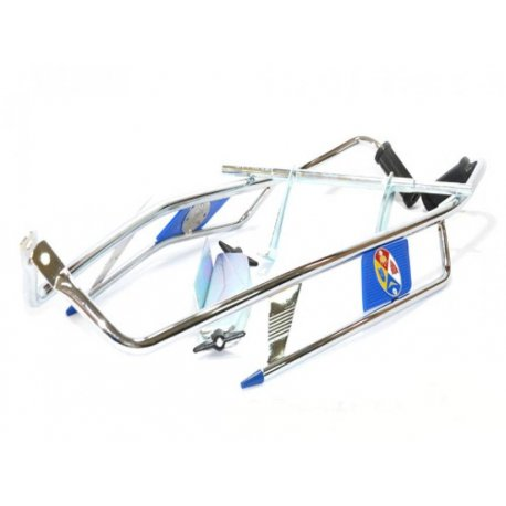 Chrome-plated crash bar side panel/blue