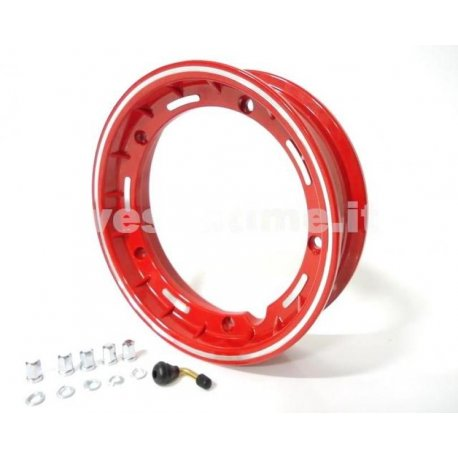 Tubeless wheel rim, dimensions 2.50-10 red with valve and fitting bolts, made in italy