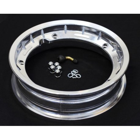 Tubeless wheel rim, dimensions 2.50-10 polished aluminium with valve and fitting bolts, made in italy