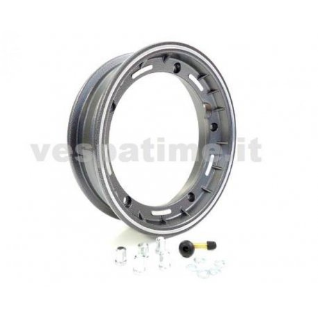 Tubeless wheel rim, dimensions 2.50-10 glitter black with valve and fitting bolts, made in italy