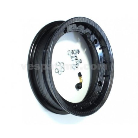 Tubeless wheel rim, dimensions 2.50-10 carbon look with valve and fitting bolts, made in italy