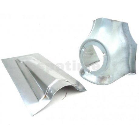 Pair of repairsheets horn and nose cover vespa 125 gt, 125/150 super, 150 gl, 150 sprint, 180 ss. rectangular emblem