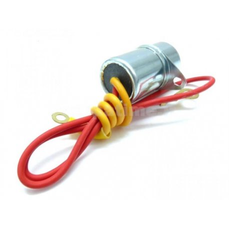 Condenser with two cables with fastening bracket for vespa 125 gtr/ts, 150 sprint veloce, px without indicators 6-volt system