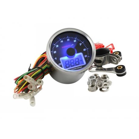 Revolution indicator and thermometer koso white face backlit blue, 12 volt, 9,000 rpm