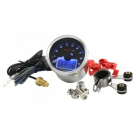 Revolution indicator and thermometer koso black face backlit blue, 12 volt, 16,000 rpm