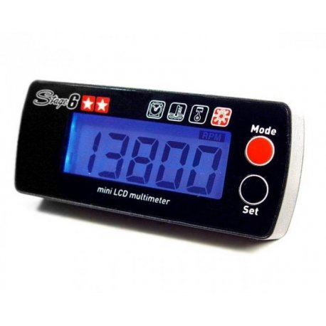 Revolution indicator and thermometer stage6 backlit blue, 12 volt, 22,000 rpm, with reached revolutions memory function