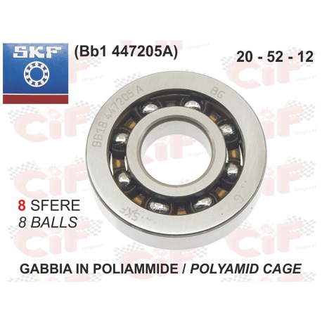 Ball bearing ntn 20-52-12 crankshaft vespa rod changer 125 v1t→15t, wire changer 125 v30t→33t, rear wheel vespa gs 160, 180 ss