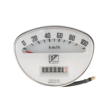 Odometer for 90ss, 125 nuova, scale numbering 100 km/h, rectangular piaggio logo