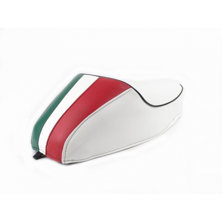 Saddle with hump white three colours for vespa 50 special, r, l, elestart.