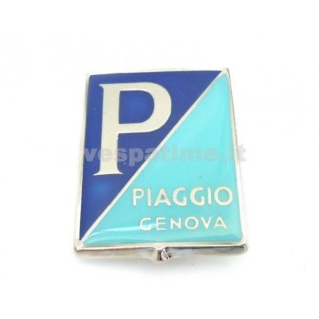 "Shield ""piaggio genova"" enamelled with 4 clips vespa 98, 125 v1t→15t, 125 v30t→33t, 125 vm1t→2t, 150 vl1t→2t, gs 150 vs1t"