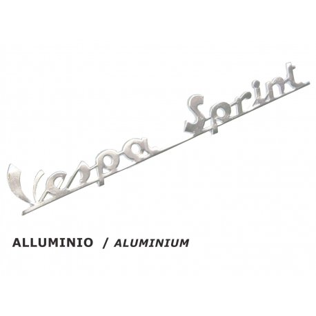 "Emblem legshield ""vespa sprint"" polished aluminium for vespa 150 sprint, 150 sprint vel. until chassis 0151523"