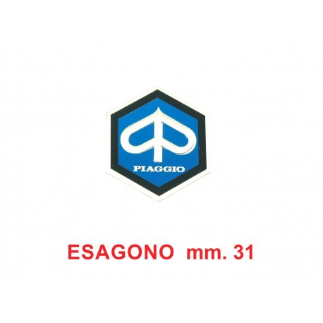 "Shield ""piaggio"" hexagonal medium 31mm adhesive vespa, px 125/150/200, pk"