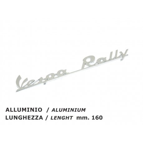 "Rear emblem ""vespa rally"" polished aluminium 180 rally, 200 rally →0010824"
