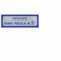 "Sticker ""usare miscela 5%"" aluminium film large blue vespa until 1959"