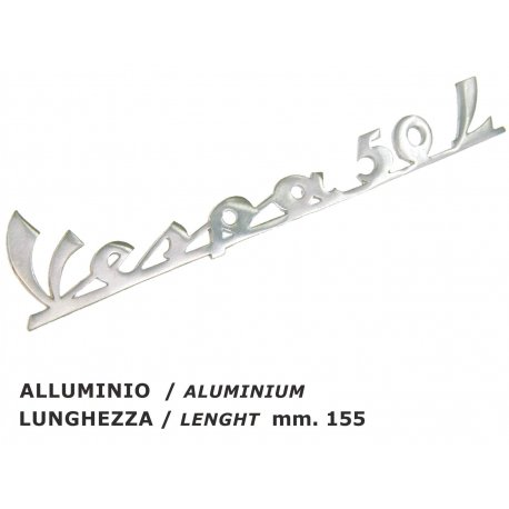 "Rear emblem aluminium ""vespa 50 l"", our production, handcrafted"