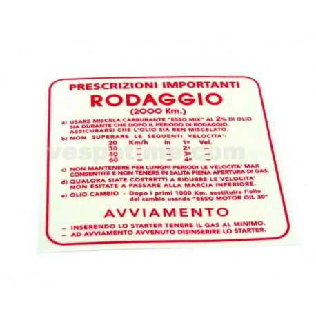 "Sticker ""rodaggio 2%"", 4 gears red"