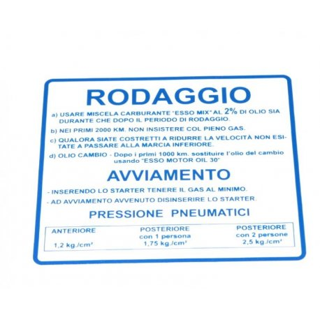 "Sticker ""rodaggio 2%"", 4 gears blue for vespa 125 ts, 180-200 rally"