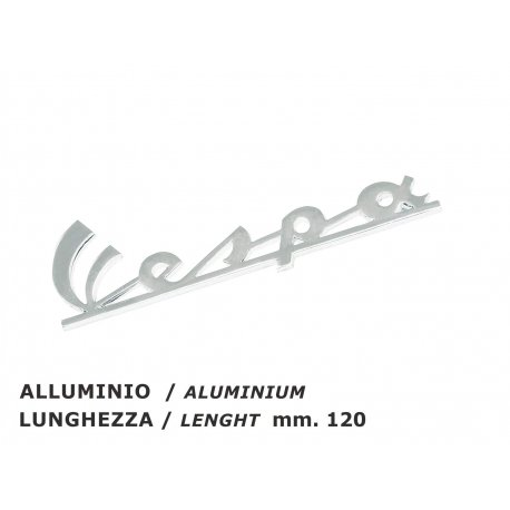 "Emblem legshield ""vespa"" polished aluminium, for vespa 200 rally"