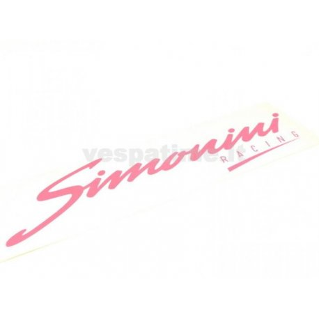 "Sticker ""simonini racing"" fuchsia. length 165mm, height 49mm"