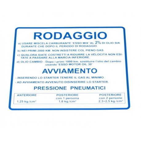 "Sticker ""rodaggio"" blue for vespa 50/90/125 primavera et3"