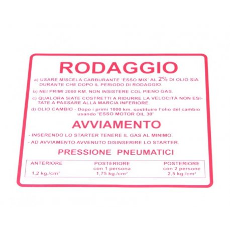 "Sticker ""rodaggio 2%"", 4 gears red for vespa 125 ts, 180-200 rally"