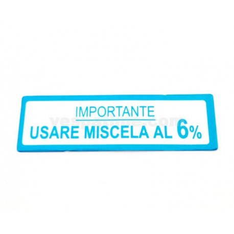 "Sticker ""usare miscela 5%"" aluminium film large blue vespa 150gs vs1t→vs5t"