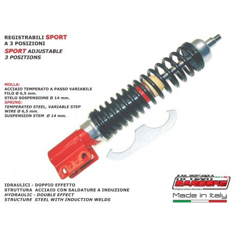 Front shock absorber made in italy by carbone adjustable vespa px all series except those with disc brake