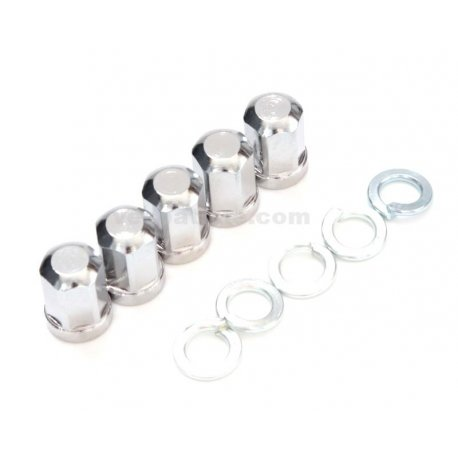 Kit 5 chrome-plated blind nuts + 6 spring washers for wheel rim, m8 hexagon 13