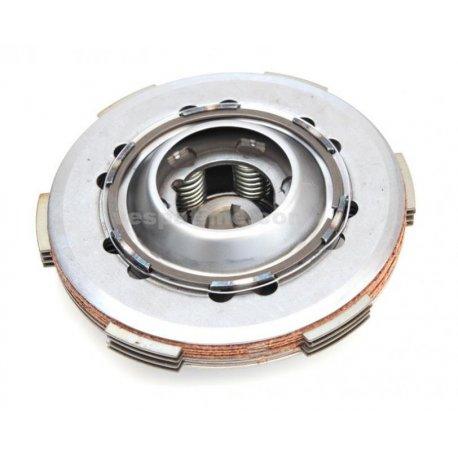 Set clutch, with cork discs, driven plates, and 6 reinforced springs for vespa 50fl/50fl2/hp/125fl