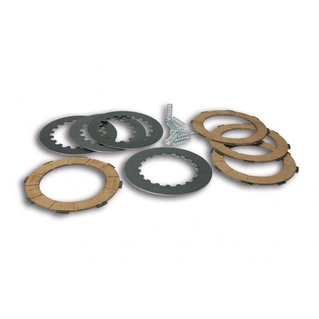 Set clutch newfren, with cork discs, driven plates, and reinforced springs for vespa cosa2 and vespa px from 1998